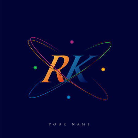 initial letter RK logotype science icon colored blue, red, green and yellow swoosh design. vector logo for business and company identity.