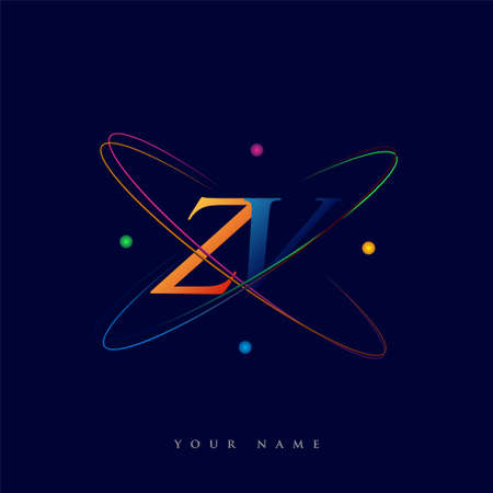 initial letter ZV logotype science icon colored blue, red, green and yellow swoosh design. vector logo for business and company identity.