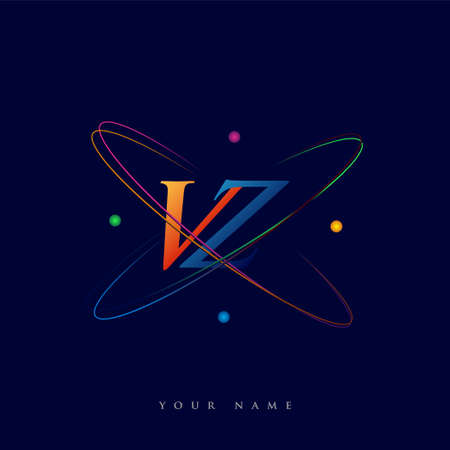 initial letter VZ logotype science icon colored blue, red, green and yellow swoosh design. vector logo for business and company identity.