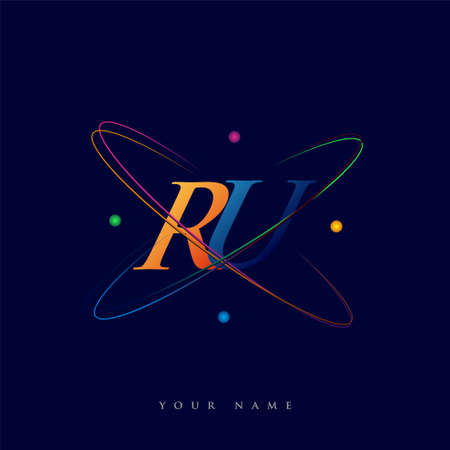 initial letter RU logotype science icon colored blue, red, green and yellow swoosh design. vector logo for business and company identity. Logó