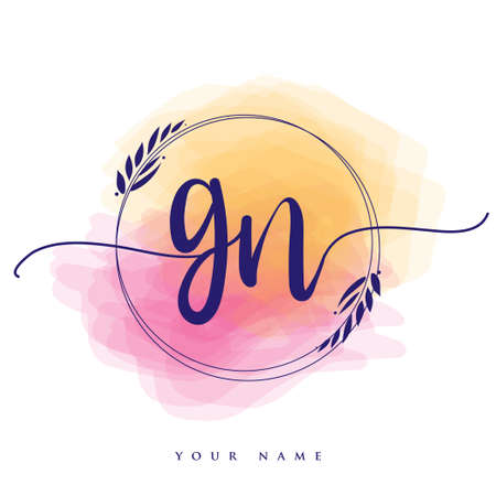GN Initial handwriting logo. Hand lettering Initials logo branding, Feminine and luxury logo design isolated on colorful watercolor background.