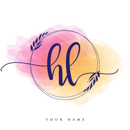 HL Initial handwriting logo. Hand lettering Initials logo branding, Feminine and luxury logo design isolated on colorful watercolor background.
