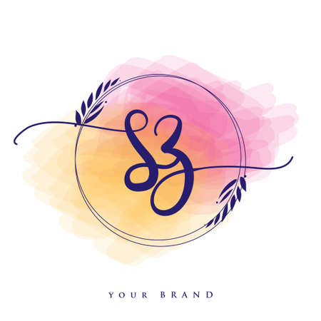 SZ Initial handwriting logo. Hand lettering Initials logo branding, Feminine and luxury logo design isolated on colorful watercolor background.