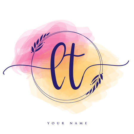 LT Initial handwriting logo. Hand lettering Initials logo branding, Feminine and luxury logo design isolated on colorful watercolor background.
