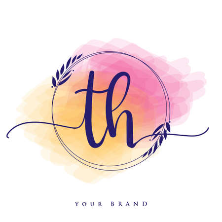 TH Initial handwriting logo. Hand lettering Initials logo branding, Feminine and luxury logo design isolated on colorful watercolor background.