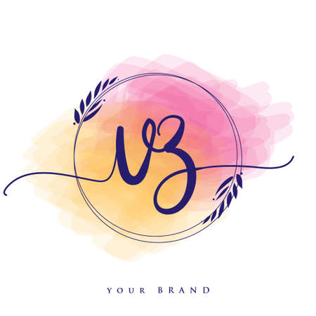 VZ Initial handwriting logo. Hand lettering Initials logo branding, Feminine and luxury logo design isolated on colorful watercolor background.