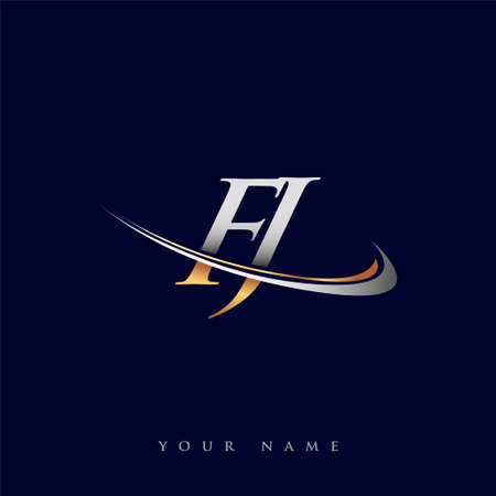 FJ initial logo company name colored gold and silver swoosh design, isolated on white background. vector logo for business and company identity.