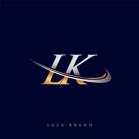 LK initial logo company name colored gold and silver swoosh design, isolated on white background. vector logo for business and company identity. Logo