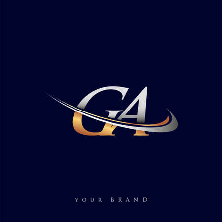 GA initial logo company name colored gold and silver swoosh design, isolated on white background. vector logo for business and company identity.