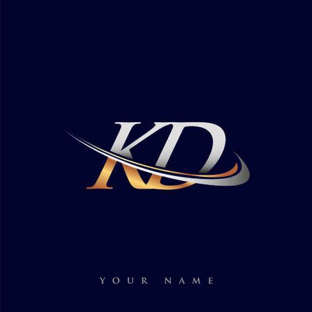 KD initial logo company name colored gold and silver swoosh design, isolated on white background. vector logo for business and company identity.