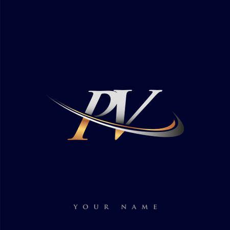 PV initial logo company name colored gold and silver swoosh design, isolated on white background. vector logo for business and company identity.