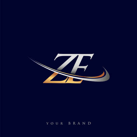ZE initial logo company name colored gold and silver swoosh design, isolated on white background. vector logo for business and company identity.