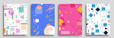 Memphis Style Poster Set. Halftone and geometric shapes patterns. Flat style Abstract Vector Design ideal for Banner, Web, Promotion, Placard and Billboard.