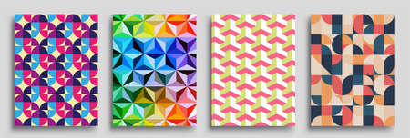 Modern geometric abstract background covers set. Cool gradient shapes composition, vector covers design.