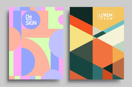 Modern geometric abstract background covers set. Colorful geometric background, set of A4 cover. Header design for flyer, book, info banner frame, title sheet. Modern design. Brochure template layout