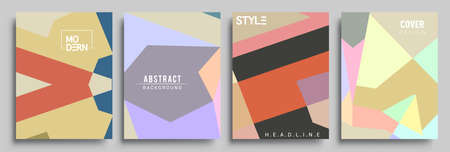 Modern geometric abstract background covers set. Cool gradient shapes composition, vector covers design