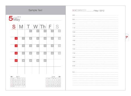 vector calendar 2012 may Vector