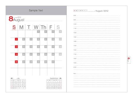vector calendar 2012 august Vector