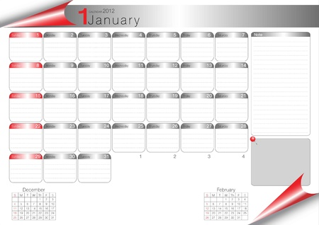 vector organizer table 2012 january Vector