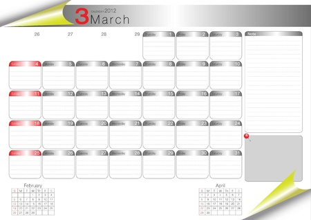 vector organizer table 2012 march Vector