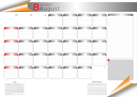 vector organizer table 2012 august Stock Vector - 11388987