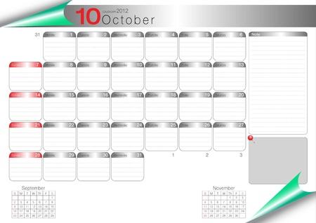 vector organizer table 2012 october Vector
