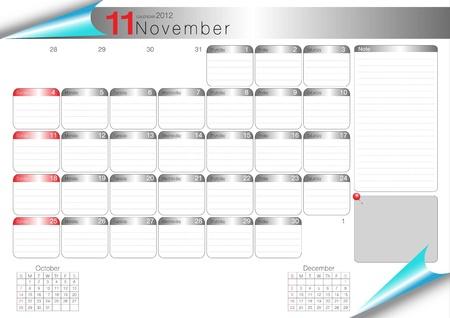 vector organizer table 2012 november Stock Vector - 11388982