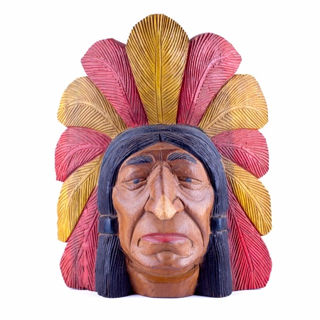 indian artifacts: indian head statue isolated
