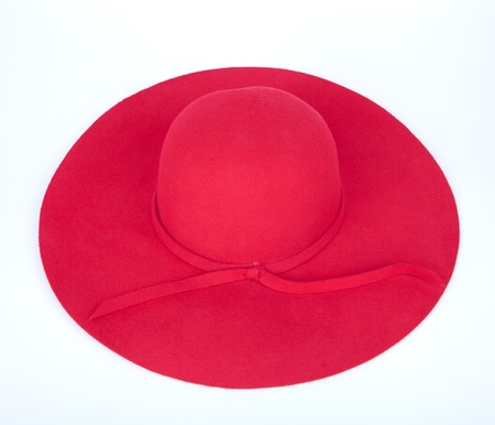 red straw: Woman s summer red straw hat isolated on white background  Stock Photo