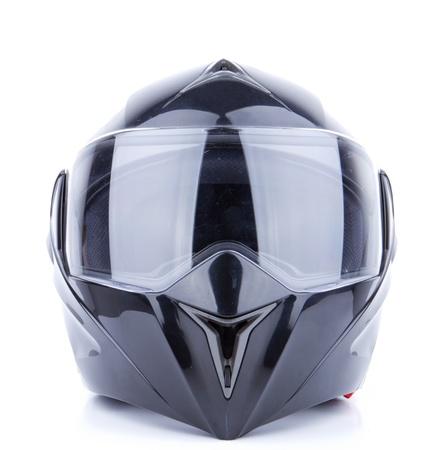 casco de moto: Casco negro, brillante motocicleta aislado en el fondo blanco