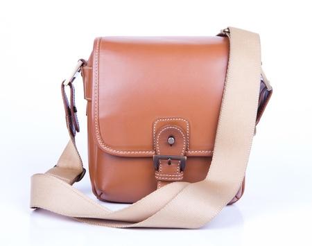 viewfinder vintage: Old camera in brown leather case
