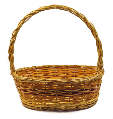willow fruit basket: Empty woven fruit basket, isolated