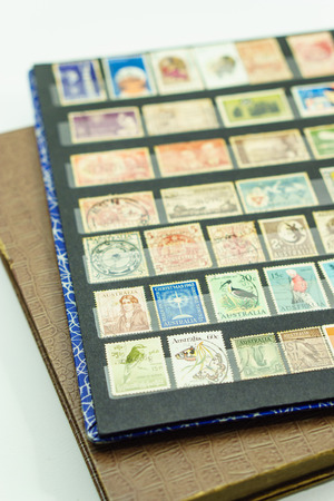 australia stamp: Collection of very old postage stamps in stamp books