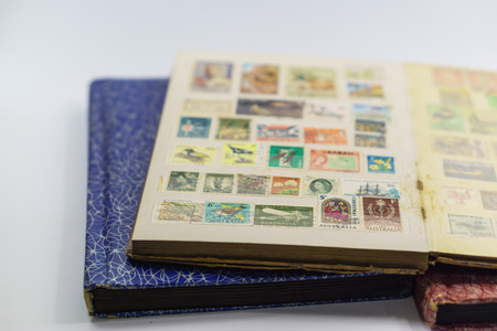 postage stamps: Collection of very old postage stamps in stamp books
