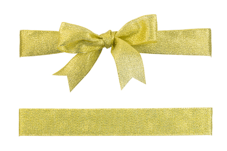glister: Golden twinkle ribbon bow and strip isolated on white