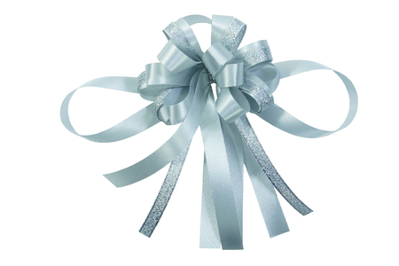 christmas bow: Silver glistering ribbon bow isolated