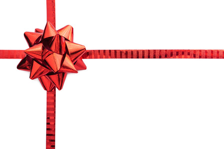 bow: Red ribbon bow isolated on white with text space