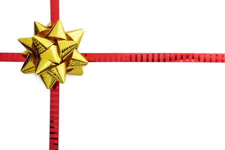 red ribbon bow: Gold ribbon bow on red ribbon isolated on white with space Stock Photo