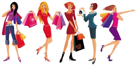 shoppers: Shopping pretty girls Illustration