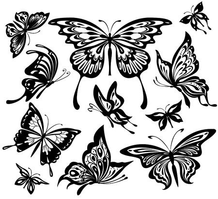 tatouage papillon: Ensemble de papillons noir et blancs.