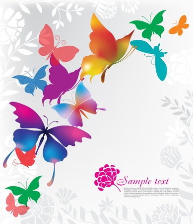 butterfly silhouette: Background with colorful butterflies Illustration