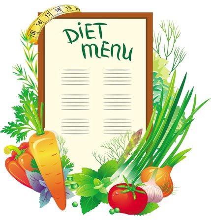 calorie: Diet menu with a group of vegetables Illustration