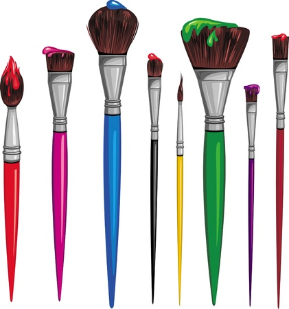 messy paint: Different paintbrush Illustration
