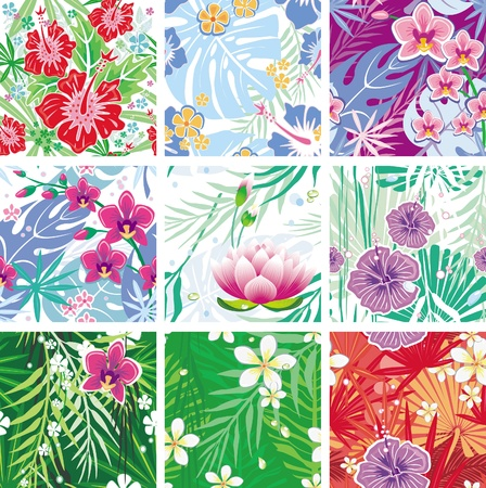 textiles: set of seamless floral pattern Illustration