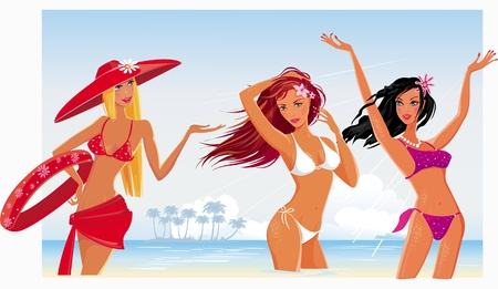 Beautiful sexy girls on the beach Vector