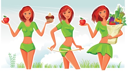 waist weight: Healthy lifestyle concept Illustration