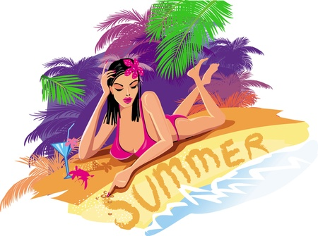 paradise beach: Beautiful sexy woman on the beach Illustration