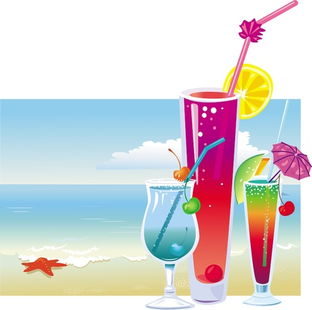 Cocktails on the beach Stock Vector - 9626422
