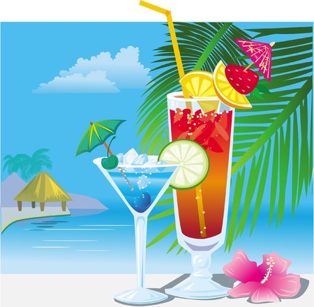 Cocktails on the beach Stock Vector - 9626423