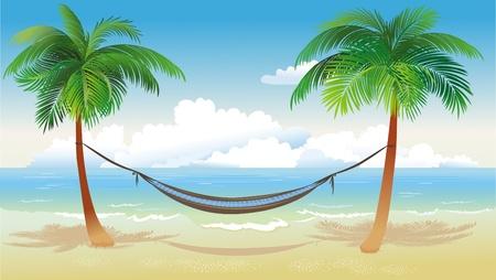 hamaca: �rboles de Palma y hamaca en playa Vectores